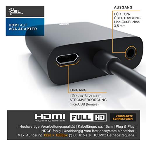 CSL - Full HD HDMI auf VGA Adapter inkl. Audio-Übertragung Line Out - Konverterkabel - bis zu 1080p HDTV Unterstützung - digital zu analog - schwarz