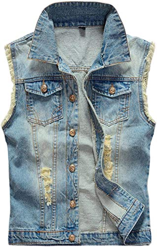 Haayee Men's Casual Collared Button-Front Ripped Denim Outwear Vest