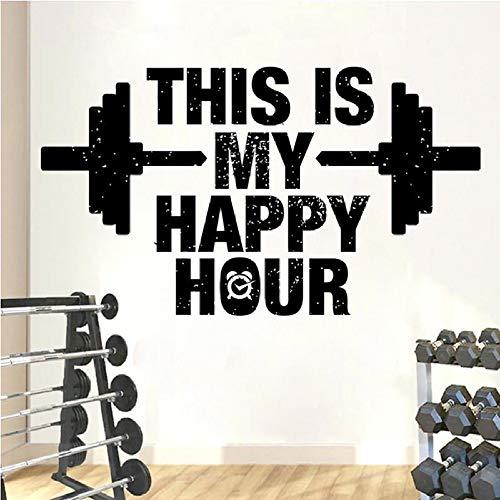 ONETOTOP Adesivo da Parete in Vinile con Happy Hour Fitness Adesivo Citazione Palestra Adesivi Fitness Bodybuilding Camera da Letto Rimovibile Decorazione della casa