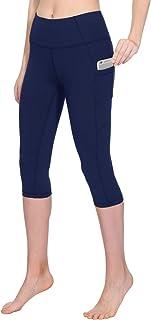 TAIBID Women's High Waist Crop Yoga Pants Side Pockets Capri Tummy Control Workout Running Leggings, Size S - XL