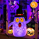 OurWarm Halloween Inflatables 5FT Blow Up Ghost with LED Rotating Light for Halloween Indoor/Outdoor Yard Lawn Party Decorations