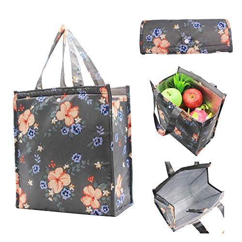 Large Insulated Lunch Bag for Women Men Cute Meal Prep Lunch Tote Bag Thermal Lunch Box Organizer Reusable Lunch Cooler Bento Box Bag for Work Picnic Travel by Mziart Dark Grey Flowers