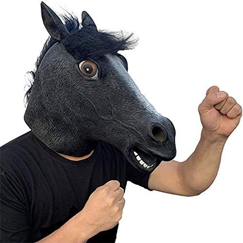 ifkoo Halloween Decorations Horse Mask Cosplay Animal Head Latex Black Horse Mask Costume