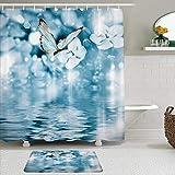 KISSENSU Cortinas con Ganchos,Flower SPA Floral y Mariposas en el Agua en Azul Oscuro romántico,Cortina de Ducha Alfombra de baño Bañera Accesorios Baño Moderno