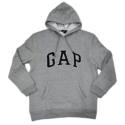 Gap Herren Fleece Arch Logo Pullover Hoodie (Small, Grau)