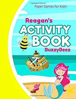 Reagan Activity Book: Mermaid Puzzle Activities | 5 Kid Ready to Play Game Templates & Storybook Paper: Hangman Tic Tac Toe Four in a Row Sea Battle Dots & Boxes Story Pages | Little Girl Purple Yellow Cover | Road Trip Fun | First Name Letter R
