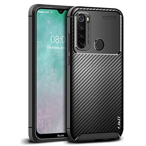 JundD Kompatibel für Xiaomi Redmi Note 8T Hülle, [Carbon Fiber Pattern] [Leichtgewichtig] [Fallschutz] Stoßfest TPU Slim & Anti-Kratzer Weich Hülle für Redmi Note 8T - Schwarz