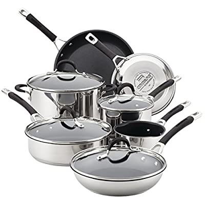 Circulon 78003 Momentum Stainless Steel Nonstick Cookware Set with Glass Lids, 11-Piece Pot and Pan Set, Stainless Steel