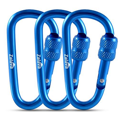 Zalava 2020 Neu Mini Schlüsselanhänger Karabiner, 3 Stück Blau Karabiner mit Schraubverschluss Mehrfunktionale Karabinerhaken für Camping, Angeln, Wandern Oder Reisen