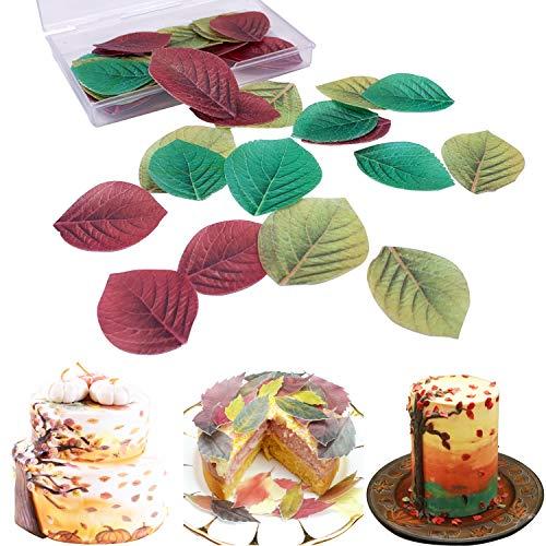 Cupcake-Topper aus Reispapier, für Weihnachten, Ostern, Valentinstag und Neujahr, mehrfarbig Colorful Leaves 45pcs