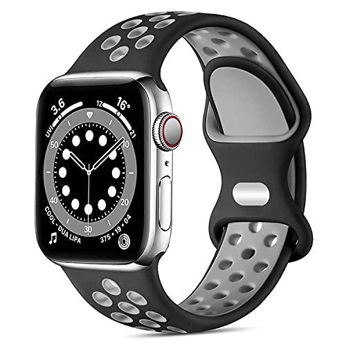 ANCHVN Cinturino Compatibile per Apple Watch Cinturino 38mm 40mm 41mm 42mm 44mm 45mm, Silicone Cinturini di Ricambio Compatibile con iWatch Series 7 6 5 4 3 2 1 SE (Nero/Grigio, 42mm/44mm/45mm-L)