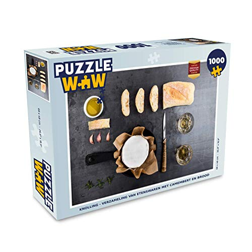 Puzzel 1000 stukjes volwassenen Knolling - Eten 1000 stukjes - Knolling - verzameling van etenswaren met camembert en brood puzzel 1000 stukjes - PuzzleWow heeft +100000 puzzels - legpuzzel voor volwassenen - Jigsaw puzzel 68x48 cm