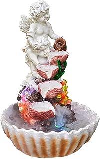JANEFLY Esculturas para el hogar, Fuente de Mesa de ángel con luz LED Fuente de Agua en Cascada de 3 Niveles Decoración de...