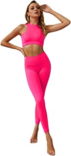 XFKLJ Sports Bra Yoga Pants Sports Suit Gym Fitness Clothing Tracksuit Women Sexy Running Yoga Set Bra Leggings Tights Flu...