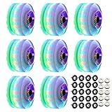EYYVRE Roller Skate Wheels, 8Pack 58mm x 32mm 82A, Indoor Outdoor Roller Skate Wheels with Bearings, Low Noise Light Up Roller Skate Wheel for Double Row