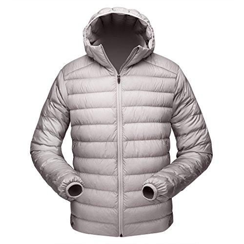 TAK Men's Winter Ultra Light Packable Puffer Down Jacket Coat (L, Grey - Hooded)