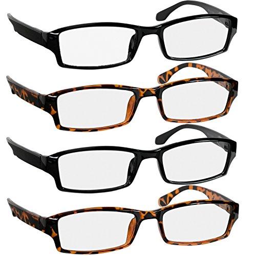 Reading Glasses -9501HP - 4 pk - 2 Black & 2 Tortoise -2.75