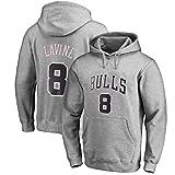 RR Masculino y Wome Baloncesto Sudadera con capucha de Zach LaVine # 8 Chicago Bulls camiseta de manga larga Tops (Color : Gray, Size : L)