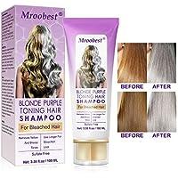 Champú Purpura,Purple Shampoo,No Yellow Shampoo, Brassy, humectante capilar con tratamiento de color plateado, cabello decolorado y resaltado, tónico para el cabello decolorado-100ML