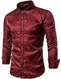 COOFANDY Herren Rose Bedruckte Langarm-Hemden Regular Fit Shirts Für Anzug, Business, Hochzeit Rot Gr.L