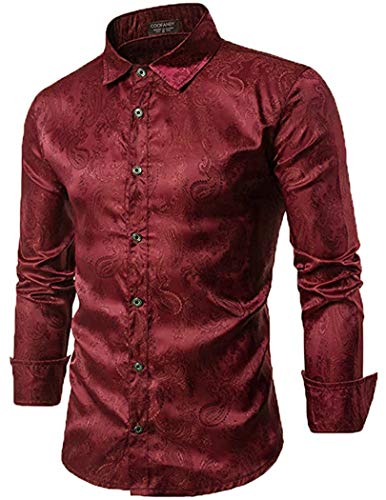 COOFANDY Men's Long Sleeve Satin Luxury Printed Silk Dress Shirt Dance Prom Party Button Down Shirts(Wine red,M)