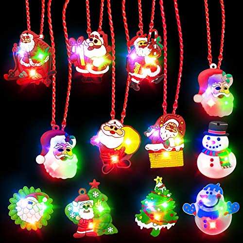 TURNMEON 12Pack Christmas LED Light Up Glow Necklaces Party Favors for Kids Xmas Party Supplies Accessories Toy Gift Boys Girls Christmas Stocking Stuffers Decorations