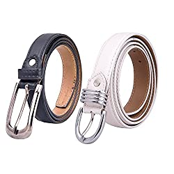 Amicraft Womens Belt - Combo of 2 (Black/White) (Wb01Bl_Multi-Coloured_Large)