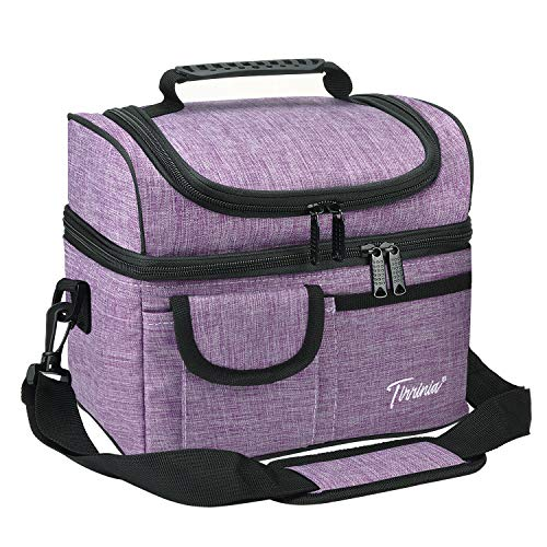 "Tirrinia Insulated Lunch Bag, Leakproof Thermal Bento Cooler Tote for Women and Men, Dual Compartment with Shoulder Strap, 10.2"" x 7.5"" x 9"", Purple"
