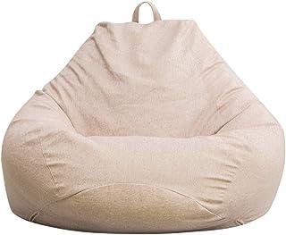 Suszian Sillas grandes bolso de la haba cubierta de sofá, cubierta de la silla grande Bean Bag 90 X 110 CM Beige