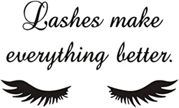 BooDecal Wall Decals Quote Lashes Make Everything Better Eyelashes Wall Decals Eyelashes Wall Mural Art Decor Sticker Makeup Wall Decal Girls Eyelashes Beauty Salon Decoration Makeup Wall Sticker