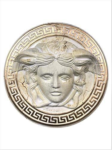 Medusa Wandrelief 3-D Bild Skulpture Büste Relief Griechisches Bild Antikes Bild Marmor-Gold