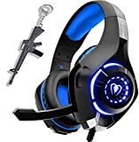 Gaming Headset für PS4 PC Xbox One, LED Licht Crystal Clarity Sound Professional Gaming Kopfhörer mit Mikrofon für Laptop Mac Handy Tablet Blau