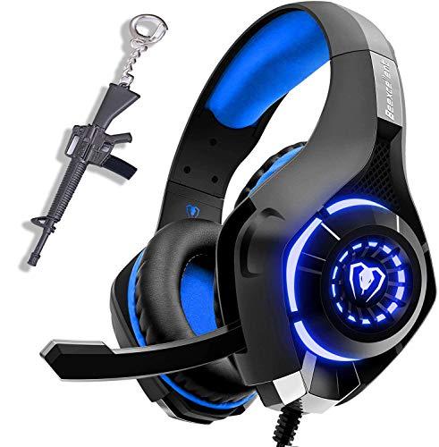 Auriculares Gaming PS4 PC XBOX One con microfono, Cascos Gaming, Auriculares para Juegos para Switch Tableta Celular, Headset estereofónico con fantástico LED Luces, micrófono antiruido,azul