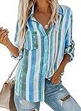 FIYOTE Damen Freizeit V-Ausschnitt Manschetten-Ärmel Locker Punkte Taschen Shirt Bluse blau S