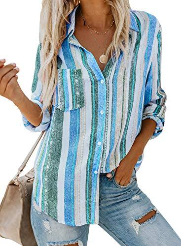 FIYOTE Damen Bluse Elegant Hemdbluse V-Ausschnitt Button Down Shirts Lose Casual Langarm Tunika Tops mit Brusttaschen blau M