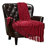 Chanasya Chenille Velvety Texture Decorative Throw Blanket with Tassels Super Soft Cozy Classy Elegant with Subtle Shimmer for Sofa Couch Bed Living Bed Room Red Throw Blanket (50x65 Inches) Red