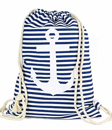Caripe Turnbeutel maritim Anker Damen Herren Rucksack Sport-Beutel Hipster Tasche Gym Bag (Anker gestreift - blau)