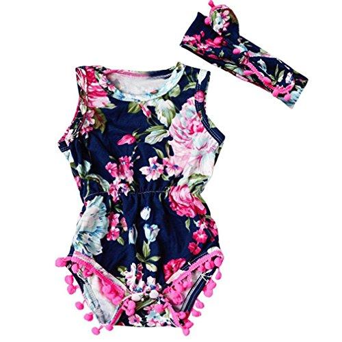 SAMGU Summer Floral Tassel Barboteuse Jumpsuit + Bandeau 2PCS Outfit Sunsuit Tracksuit Vêtements Set