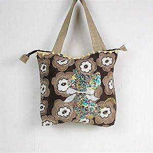 genähte Handtasche in braun beige mit Pailletten Motiv Katze, Shopper