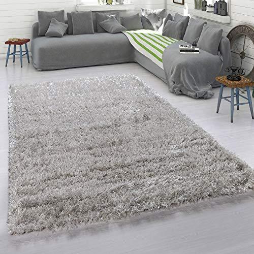 Paco Home Hochflor-Teppich, Kuschelig Weich, Moderner Einfarbiger Flokati-Teppich In Grau, Grösse:160x230 cm