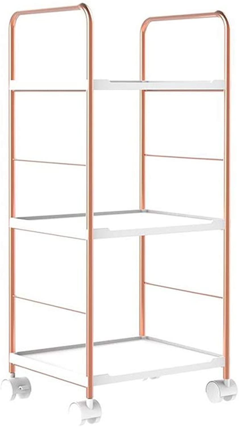 JCAFA Shelves Bookshelf Floor-Mounted Assembly Moving Pulley File Organiser Rack Metal Frame Storage Shelves ,Living Room Bedroom (color   pink gold, Size   12.20  10.23  28.74in)