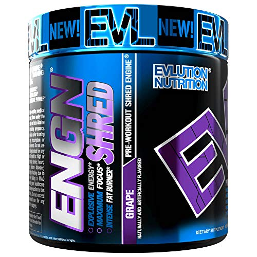 Evlution Nutrition ENGN Shred Pre Workout Thermogenic Fat Burner Powder, Energy, Weight Loss, 30 Servings (Grape)