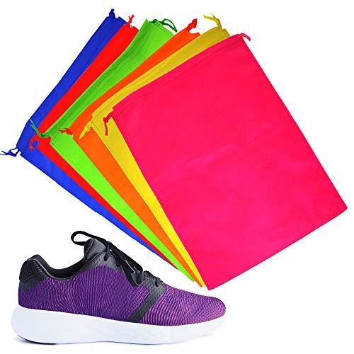 6 Bolsas de Almacenamiento con Cordón - Bolsa para Calzado, Fundas Zapatos - Colores Surtidos - Material Súper Suave - Confiable, Robusto y Multipropósito - Ideal para el Hogar y los Viajes.
