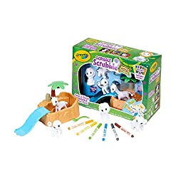 The Crayola Washimals Safari animal toy set includes 4 washable animal characters, 1 cleaning tank with slide, 1 cleaning brush, 6 colored washable markers and an instruction sheet. Color and customize these jungle collectible animals with fuzzy whit...