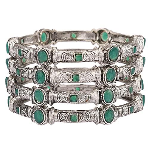 Efulgenz Indische Armreifen-Set Bollywood Traditionelle Kristall Armband Schmuck für Frauen, Stein Metall,