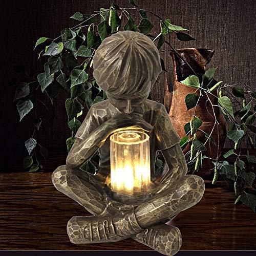 Estatua de jardín solar, ecuación de Dios, estatua de niños con luciérnagas solares, estatua de jardín con luz LED, decoración para el jardín, decoración de patio y yard