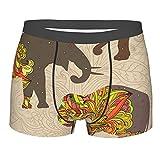 Donono Calzoncillos tipo bóxer para hombre con diseño de elefantes con flores de mandala, Negro, S