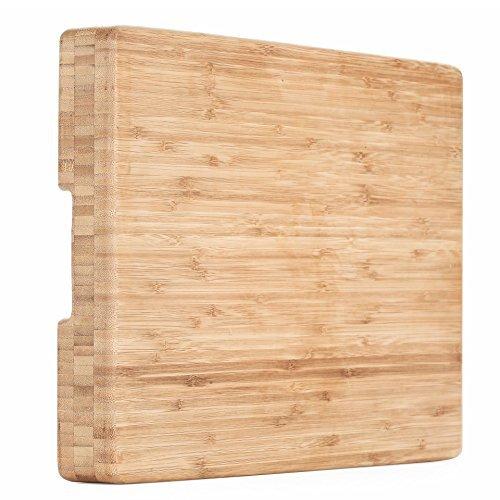 Heim Concept - Tabla de cortar de bambú orgánico y charola de servir con ranura para goteo extragrande (45.72 cm x 30.48 cm - 2.54 cm de grosor) ecológica, gruesa, fuerte, premium bambú, Marrón, 17'