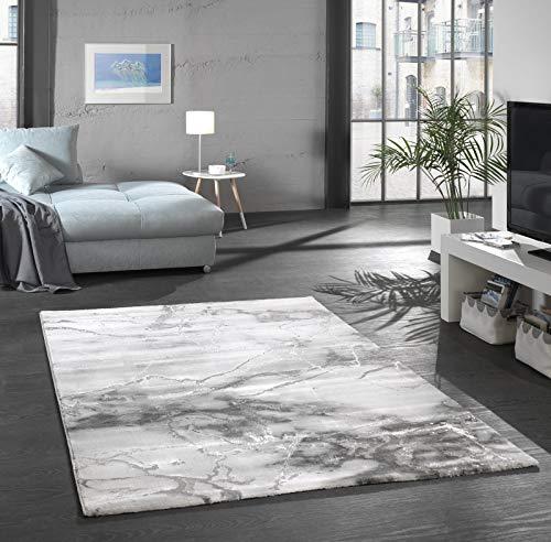 onloom Wohnzimmerteppich Craft, Stein-Optik Teppich mit 3D Effekt fürs Wohnzimmer oder Flur, Farbe:Marmor Grau, Größe:120 x 170 cm