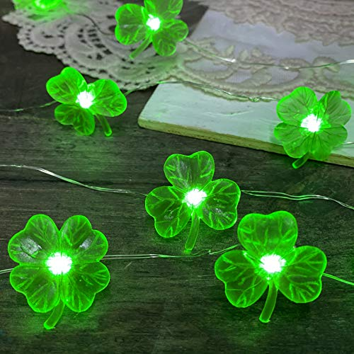 Three Leaf Shamrock String Lights Irish St Patrick Day Decorations with Fourleafed Lucky Clover 10ft 30 LEDs USB Plug in and BatteryOperated Remote Control Timer for Costume Parade Party Decor